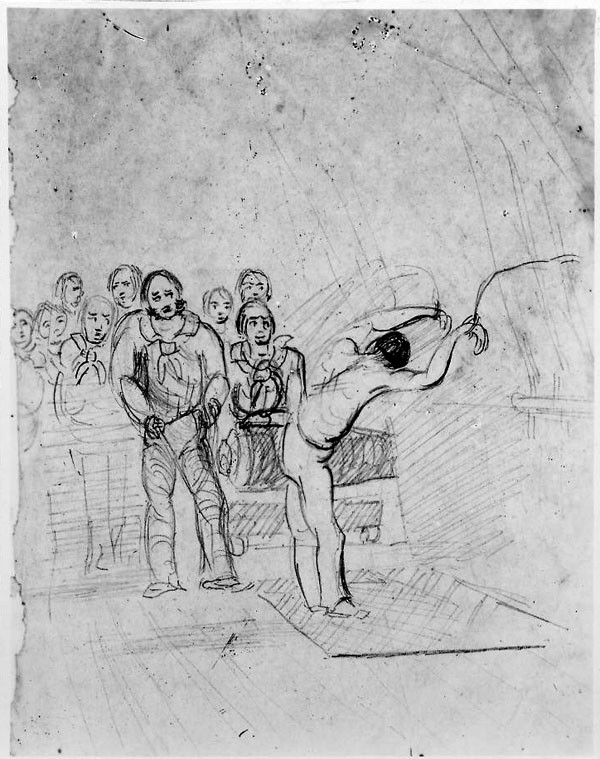 Flogging a Crewman, 1848, sketch by Captain's Clerk Charles F. Sands, from his journal kept on board Porpoise, NH 42642
