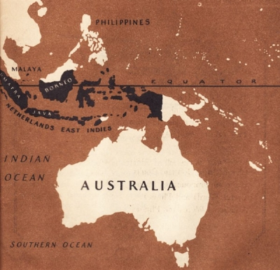 Map of Indian Ocean, Australia, and Netherlands East Indies.