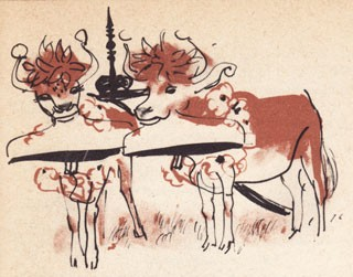 Illustration of 2 cows.