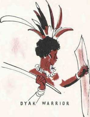 Illustration of a Dyak warrior.