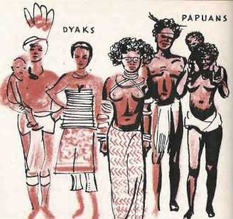 Illustration of Indonesians - Dyaks and Papuans.