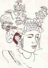 Illustration of Indonesian and head dress.