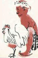 Illustration of a man with a chicken.