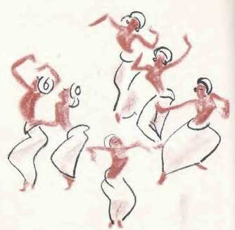 Illustration of figures dancing.