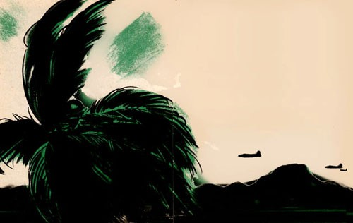 Color sketch of aircraft above palms and mountains.