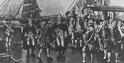 "Washington Visits the French Fleet,"" from the painting by Percy Moran."
