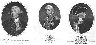 Left to right: Admirals Thomas Graves, Samuel Hood, and George Rodney.