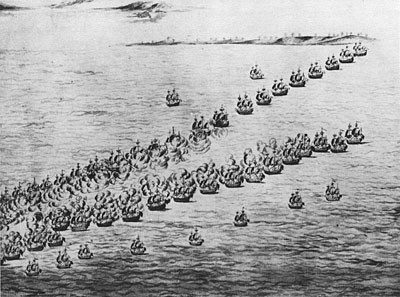 The Battle off the Virginia Capes. Note van ships of both sides closely engaged.