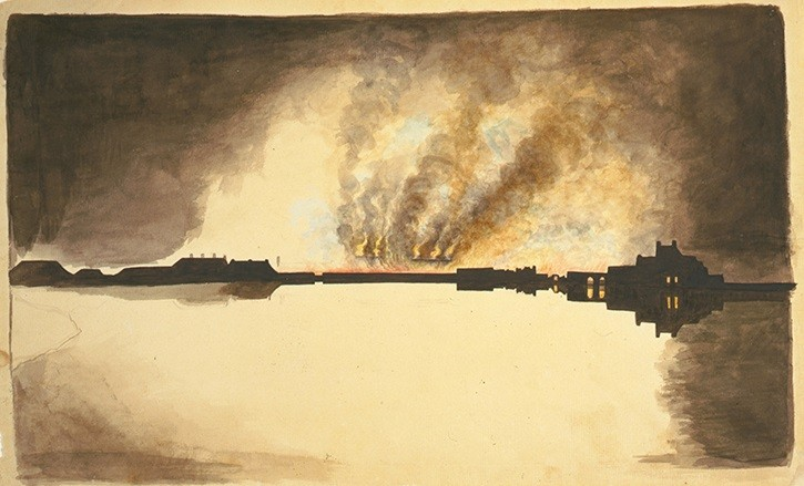 Waterfront fire probably burning of the Washington Navy Yard, 1814  painted by William Thornton (1759 - 1828)
