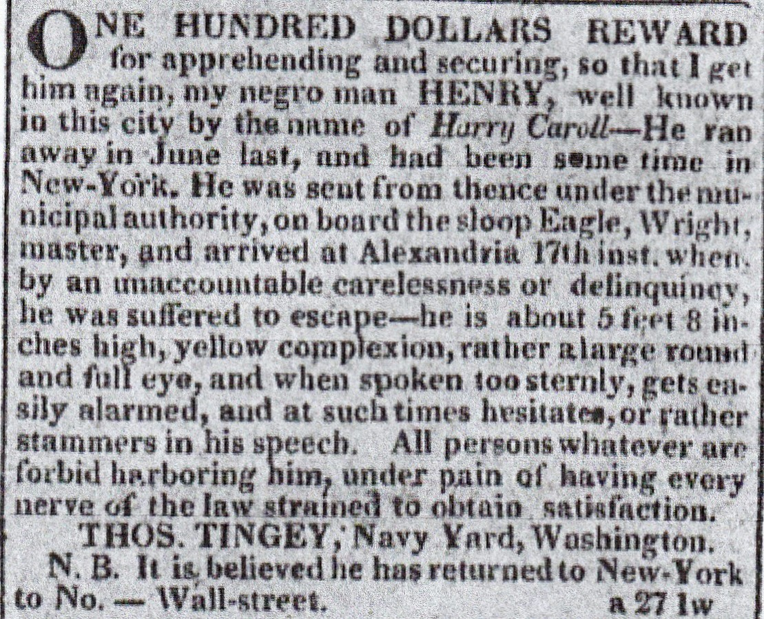 Reward notice for runaway slave Henry Carroll which was placed in the New York City newspaper Mercantile Advertiser by his owner Commodore Thomas Tingey