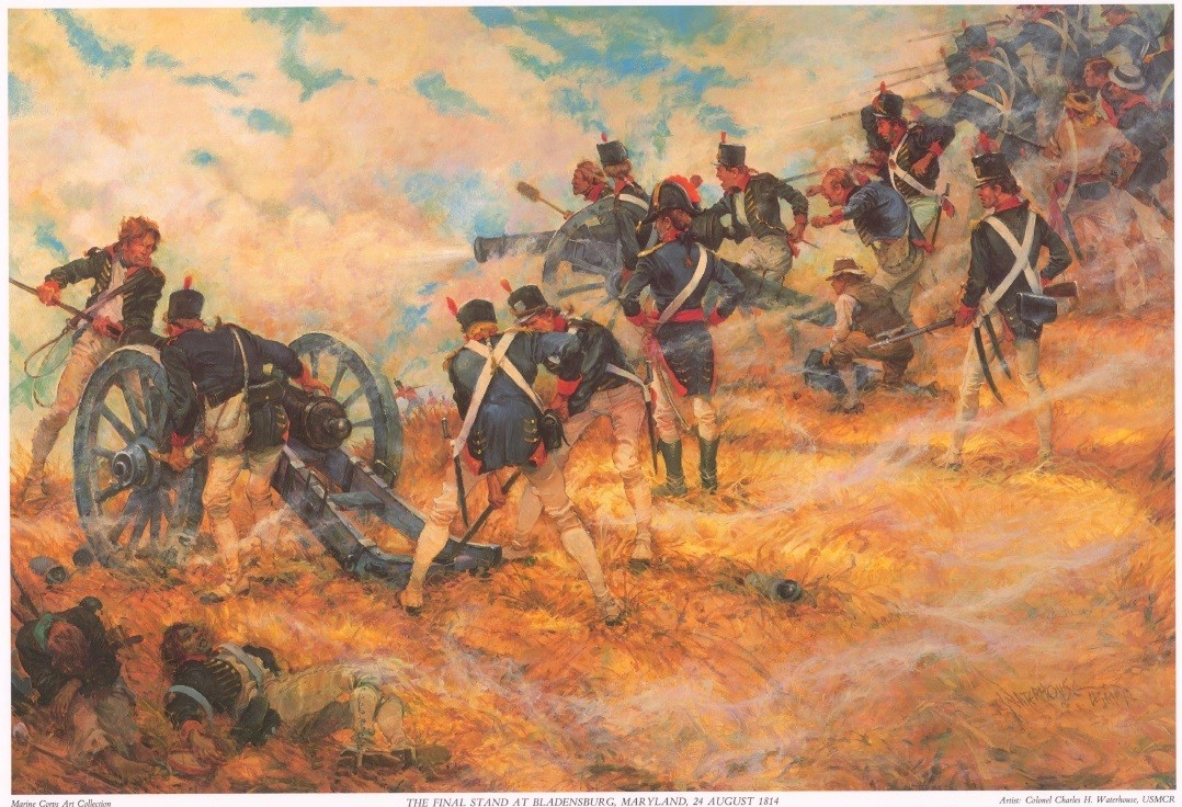 Painting by artist Colonel Charles H. Waterhouse, USMCR titled: 'Final Stand at Bladensburg Maryland 24 August 1814'