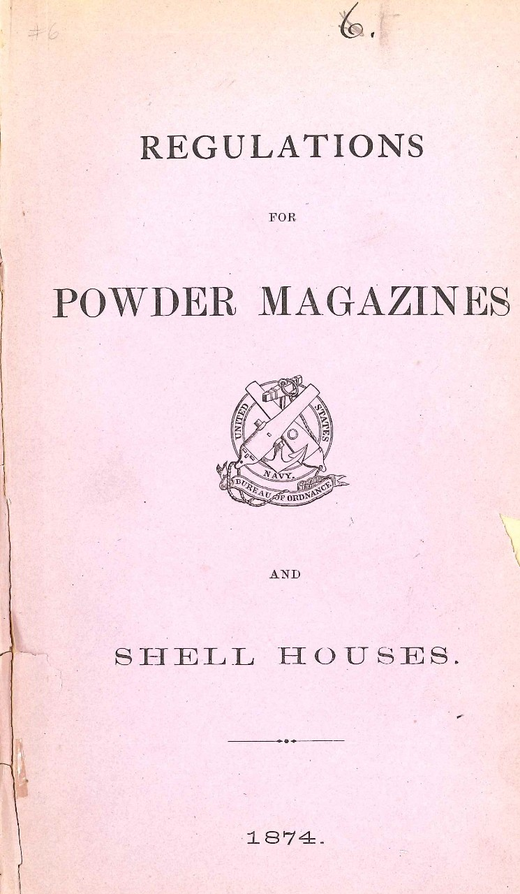 Jpeg photo of the cover page 'Regulations for Powder Magazines and Shell Houses, 1874'