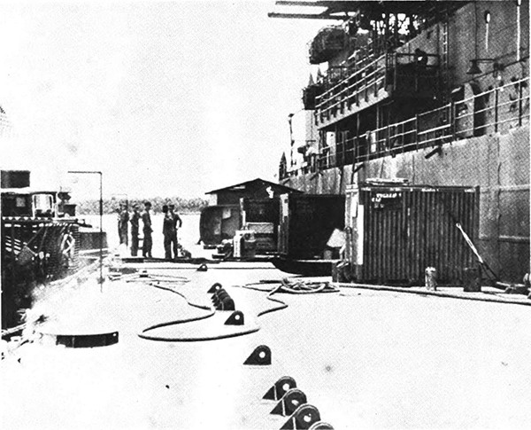 Figure B-2. Ammi barge moored alongside barracks ship.