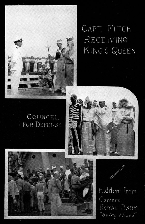 Scrapbook page with images: Capt. Fitch receiving King & Queen, Councel for Defense, and Hidden from Camera - Royal Baby 'being kissed'.