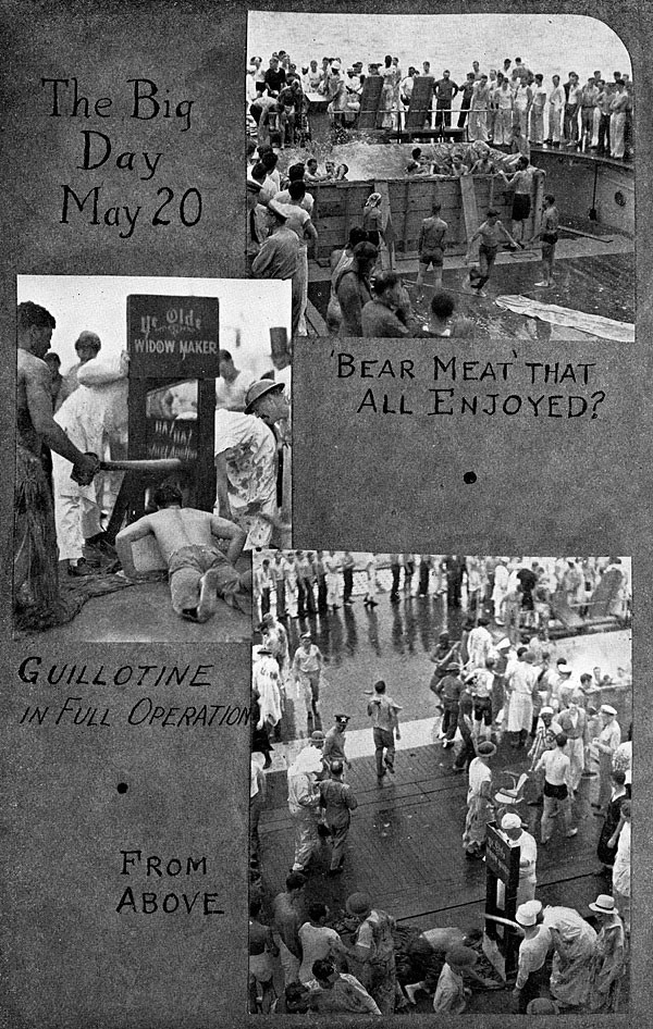 Scrapbook page with images of ceremony: The Big Day may 20, 'Bear Meat' that all enjoyed? and Guillotine in full operation.