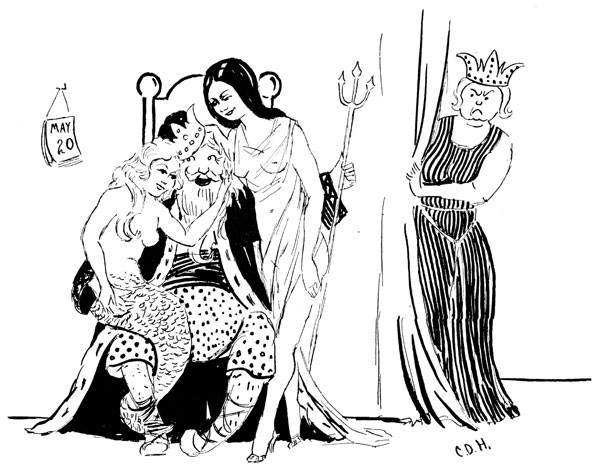 Illustration of the King with a mermaid on his lap and a woman clad in a sheer gown at his side, with the queen glaring from behind a curtain.