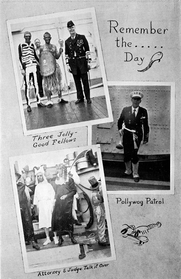 Scrapbook page of ceremony images: Remember the day..., Three Jolly Good Fellows, Pollywog Patrol and Attorney & Judge talk it over.