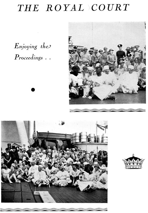 Scrapbook page of 2 ceremony images: The Royal Court, Enjoying the proceedings..., 2 group shots of the crew in costume.