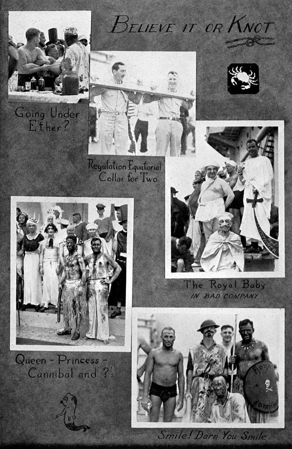 Scrapbook page of ceremony images: Believe it or knot, going under ether?, regulation equatorial collar for two, the royal baby in bad company, queen-princess-cannibal and ?, and smile! darn you smile.