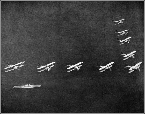Image of planes flying in 'V' formation over USS Lexington.