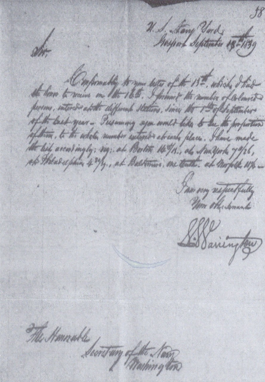 Warrington to Paulding enlistment of blacks 19 September 1839