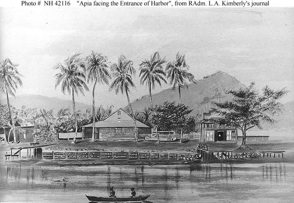Apia facing the entrance of the harbor.