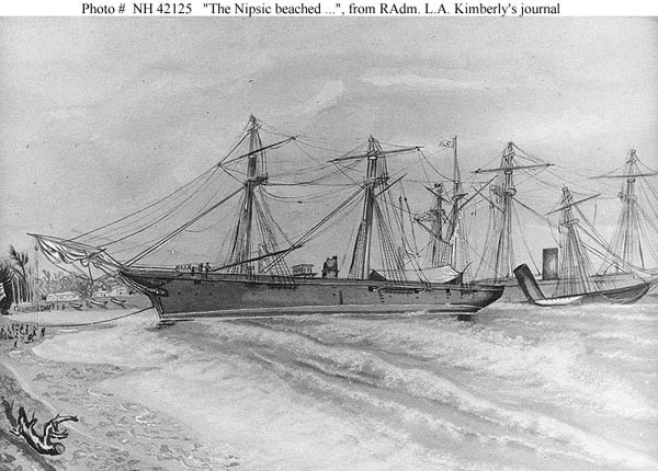 Nipsic beached, wrecks of Trenton and Vandalia astern.