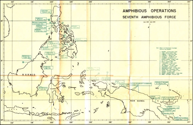 Map: Amphibious Operations, Seventh Amphibious Force.