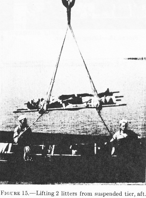 Figure 15.--Lifting 2 litters from suspended tier, aft.