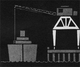Drawing of an overhead structure with a crane loading a ship.