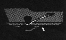 Drawing of a large rope securing a vessel to the pier.