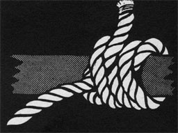 Drawing of a rope tied to a pole.
