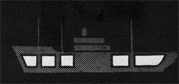 Silhouette of a ship with five sections highlighted to indicate holds.