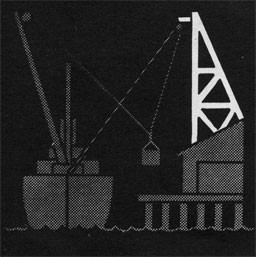 Drawing of a ship at the dock with a crane.