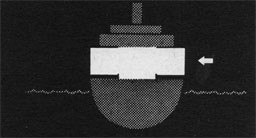 Silhouette of ship with arrow pointing to between decks section.