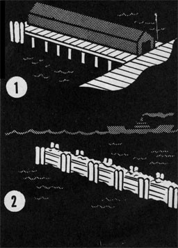 Drawings  of a landing pier and a breakwater.