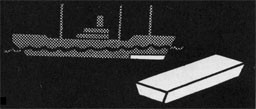 Drawing of a ship with ballast area highlighted and a piece of pig iron.