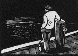 Drawing of a man standing on a pier looking out to sea as a ship passes by.