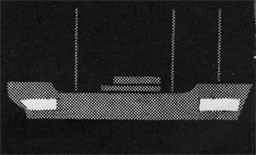 Silhouette of a ship with lazareete sections highlighted.