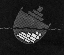 Drawing of a ship listing to the right with the cargo piled on the right side of the ship.