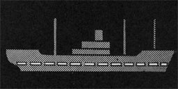 Silhouette of a ship with a dotted line along the load line.