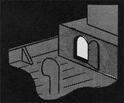 Drawing of a portion of a ship with a door opened to a storage area.