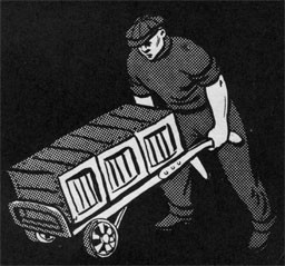 Drawing of a man pushing a wheel barrow.