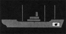 Silhouette of a ship with a bomb in a stowage section.