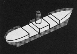 Drawing of a ship with the main deck highlighted.