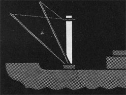 Drawing of a ship with the mast highlighted.