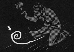 Drawing of a man with a mallet using oakum as caulk material.