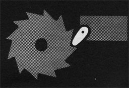 Drawing of a circular saw blade and a pawl enageged in the teeth.