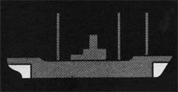 Silhouette of a ship with peak tanks highlighted.