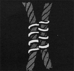 Drawing of two parallel pieces of rope secured together with seizing.